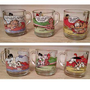 Vintage Garfield Mcdonalds small cups bundle of 3